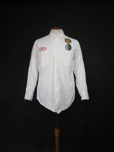 Vintage Cadillac Oldsmobile Mechanic Shirt Service Station White Twill Uniform - Medium - Fashionconstellate.com