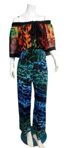 1980s NWT DIANE FREIS $895 Sheer Off the Shoulder Jumpsuit - Fashionconstellate.com
