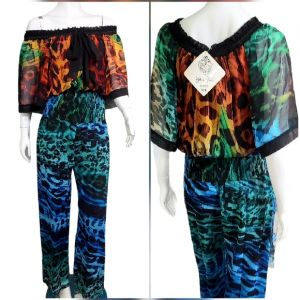 1980s NWT DIANE FREIS $895 Sheer Off the Shoulder Jumpsuit