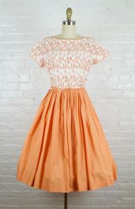 1950s cut out orange and white rockabilly dress . 50s cotton fit and flare dress by Jonathan Logan . - Fashionconstellate.com