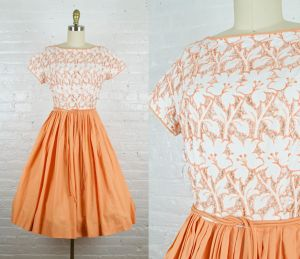 1950s cut out orange and white rockabilly dress . 50s cotton fit and flare dress by Jonathan Logan .