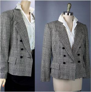 90s Silk Black and White Houndstooth Jacket by Ann May Size 6