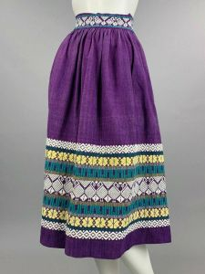 S Vintage 1950s Purple Hand Loomed Skirt Woven Embroidered Guatemalan Pin Up 50s - Fashionconstellate.com