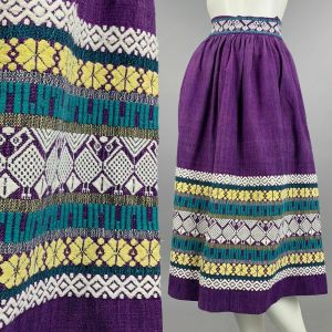 S Vintage 1950s Purple Hand Loomed Skirt Woven Embroidered Guatemalan Pin Up 50s