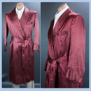 50s Rayon Satin Wrap Robe by Stafford, Chest 46