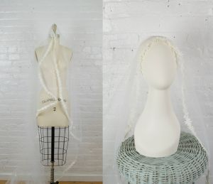 long wedding veil . vintage 1970s cathedral veil with lace and comb